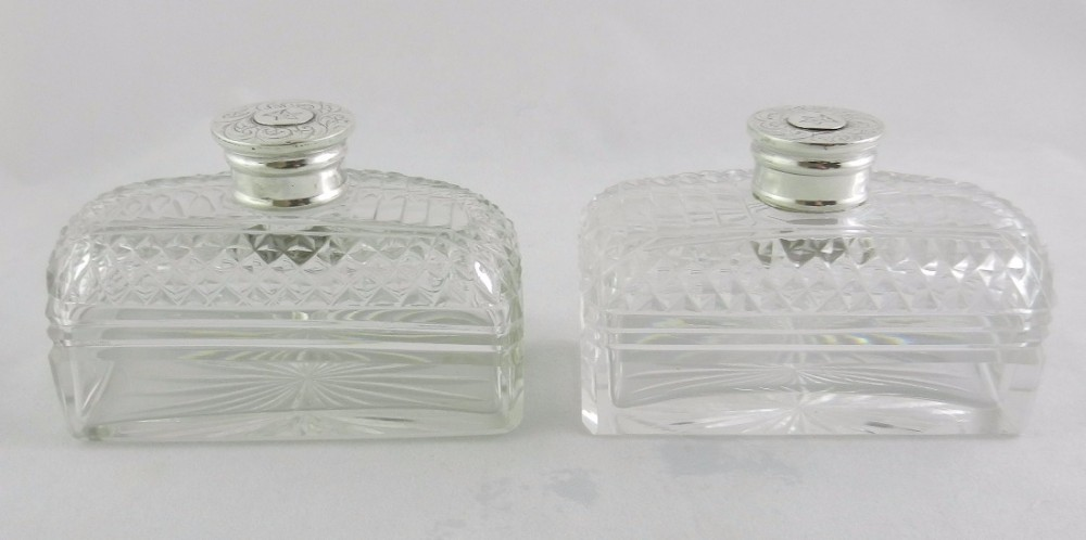 antique silver mounted cologne bottles