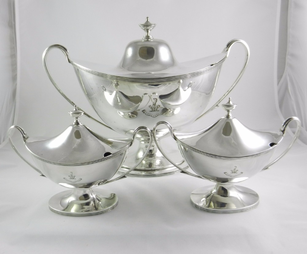 antique silverplated tureen suite