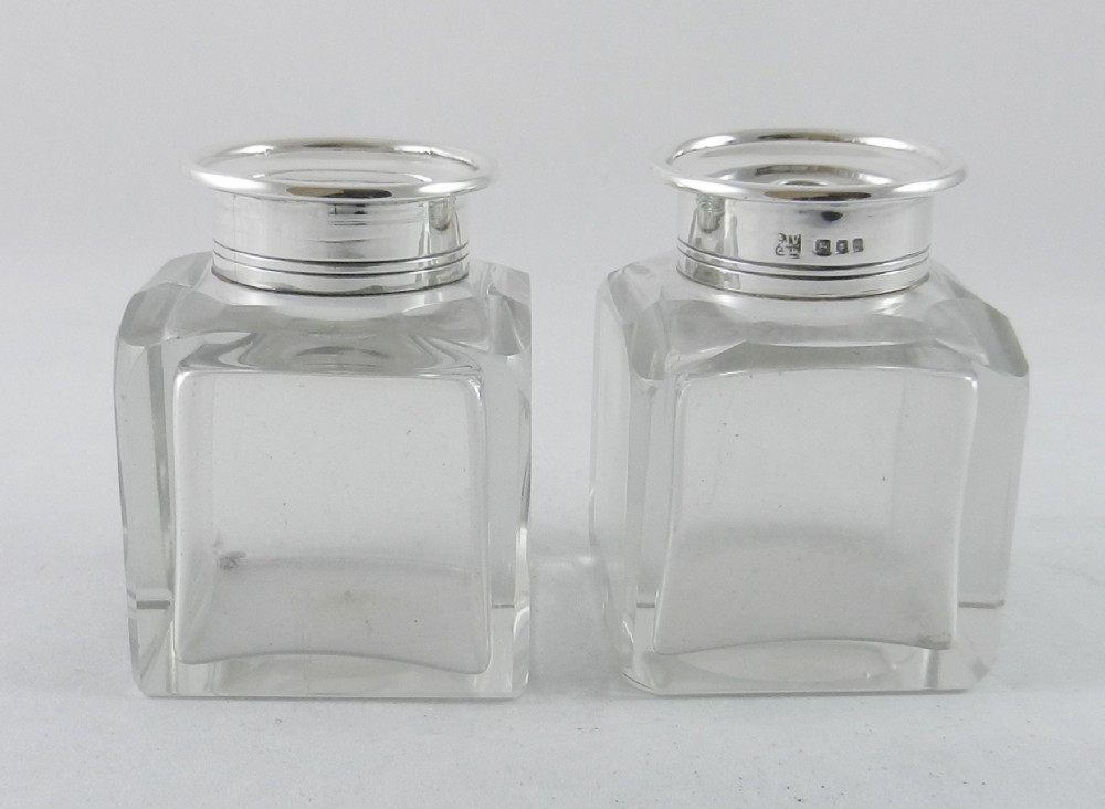 silver mounted glass ink wells
